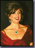 Michele Hodges featured in an elegant ruby gown designed by Troy Michigan's Linda Shears: www.lindashears.com