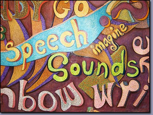 "closeup of the detailed brush strokes in the  Troy Michigan ""Words at Play"" mural created for a  children's speech therapy class"