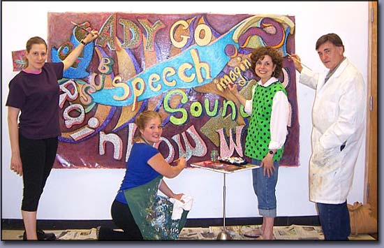 Troy Artists: James Homer Brown, Linda Shears, Diana Jellinek: Troy Michigan Muralists - Words at Play Mural
